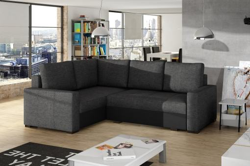 Small corner sofa with bed and storage - Brighton. Dark grey fabric. Black faux leather. Corner on the left