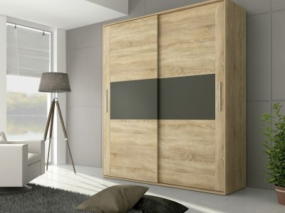 2 door sliding wardrobe - Cremona. Brown color with grey front elements
