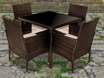 Garden Dining Set - Square Table & 4 Chairs with Armrests - Abril