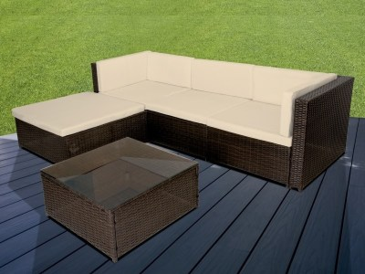 Patio Set Chaise Longue Sofa and Coffee Table in Synthetic Rattan - Mayo