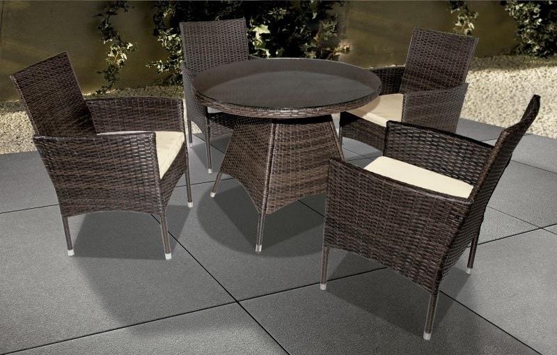 Juego de comedor de jardín: mesa redonda y 4 sillas con brazos - Junio -  Don Baraton: tienda de sofás, colchones y muebles