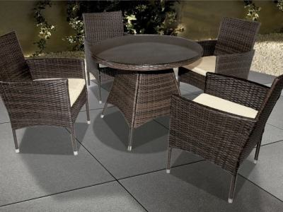 Outdoor Furniture Set - Round Table and 4 Chairs with Armrests - Junio