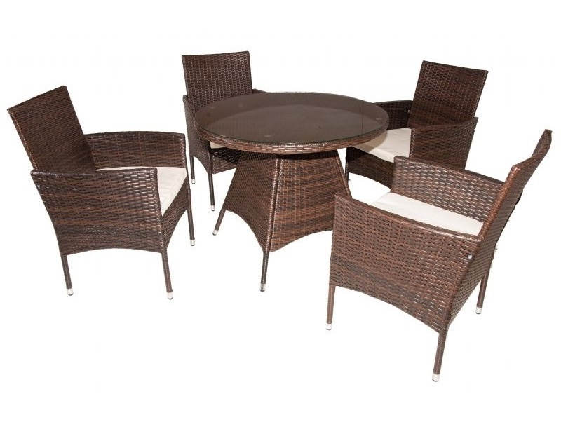 Outdoor Dining Set Round Table.Outdoor Furniture Set Round Table And 4 Chairs With Armrests Junio