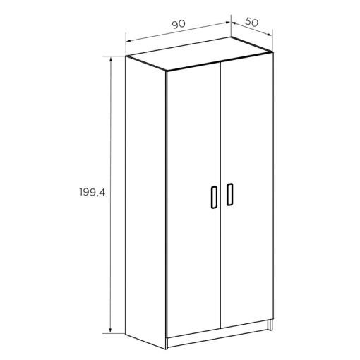 Medidas del armario de dos puertas modelo Rimini