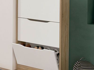Shoe Storage Cabinet in White and Brown (3-Drawer) - Rimini