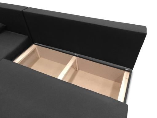 Storage under the seat of the small chaise longue sofa York