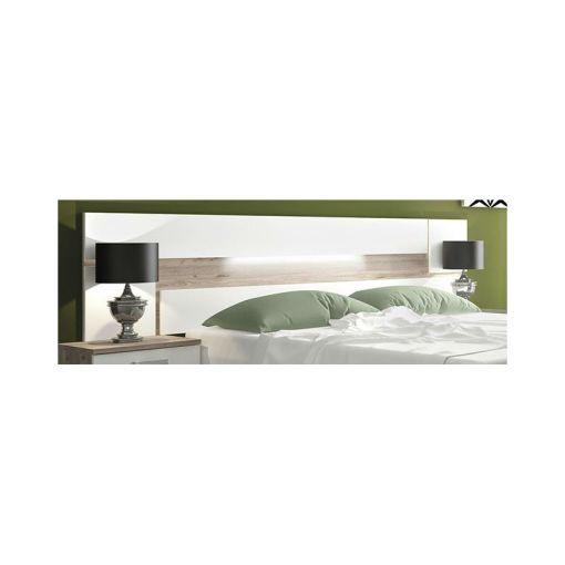 Настенное изголовье кровати с подсветкой LED - Cremona. Коричневый (nelson) и белый цвета