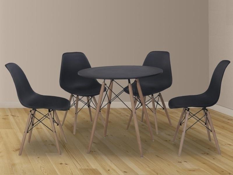Conjunto comedor de mesa redonda y 4 sillas - Bergen - Don Baraton ...