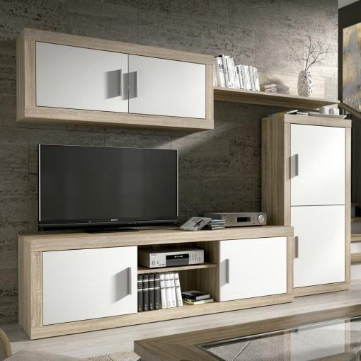 Conjunto de salón moderno, 247 cm - Piacenza. Colores roble y blanco
