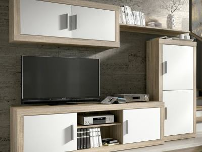 Modern Living Room Set, 247 cm - Piacenza. White and brown colours