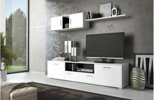 Conjunto salón comedor pequeño, 200 cm - Reggio. Colores blanco y gris (grafito)