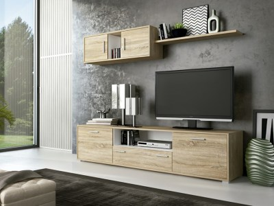 Furniture Set For Small Living Room, 200 cm - Reggio. Light brown and white colours