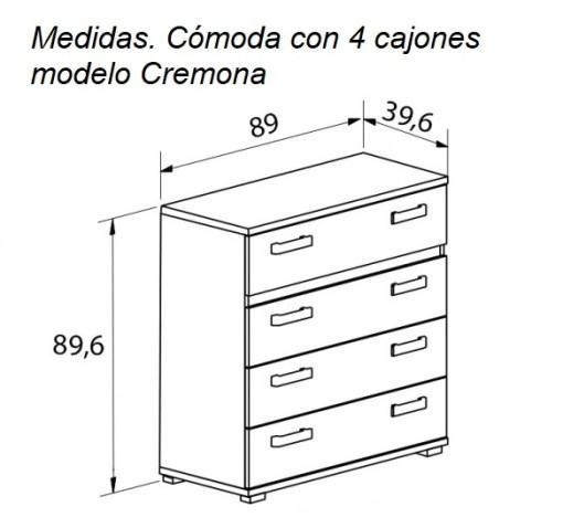 Medidas. Cómoda con 4 cajones modelo Cremona