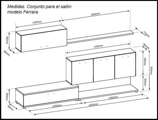 Medidas. Conjunto de salón de alta capacidad modelo Ferrara.