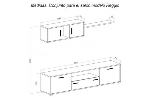 Medidas. Conjunto para el salón comedor pequeño, 200 cm - Reggio