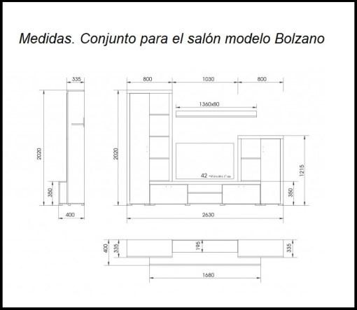 Dimensions. Living Room Furniture Composition, 4 Modules , 263 cm - Bolzano
