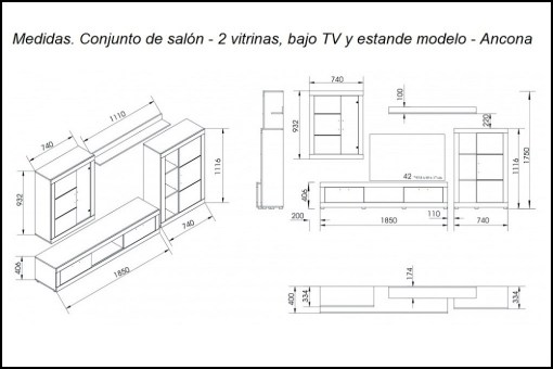 Dimensions. Lounge Furniture Set with LED lights - 2 Cabinets, TV Stand and Shelf, 259 cm - Ancona