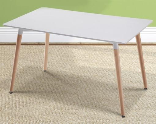 Mesa blanca rectangular comedor con patas de madera, 130 x 80 cm - Bergen