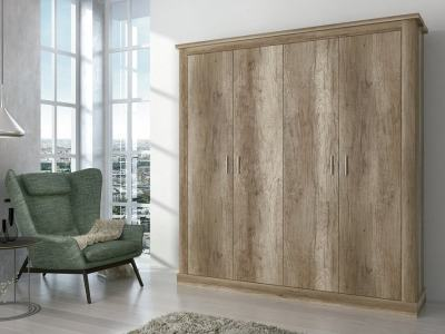 Armario con 4 puertas batientes, acabado efecto madera, 196 cm - Alabama