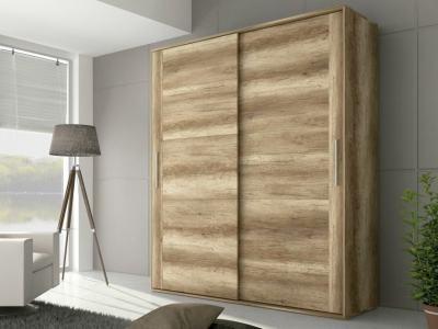 Armario de 2 puertas corredizas, acabado efecto madera, 180 cm - Alabama
