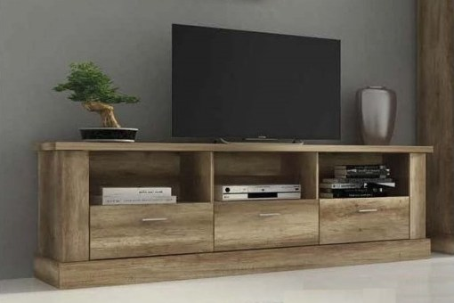 Large TV Stand with 3 Drawers, Imitation Wood Finish, 180 cm - Alabama