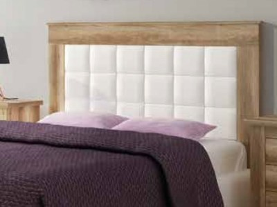 Headboard with Faux Leather White Upholstered Panel, Imitation Wood Finish, 160 cm - Alabama