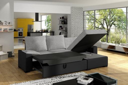 Spacious pull-out bed and storage of the Glasgow sofa