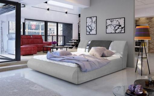 Canapé 180 x 200 abatible moderno tapizado en tela - Charlotte. Gris claro con gris oscuro