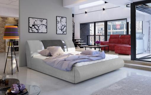 Canapé abatible moderno 140 x 200 cm tapizado en tela - Charlotte. Gris claro con gris oscuro