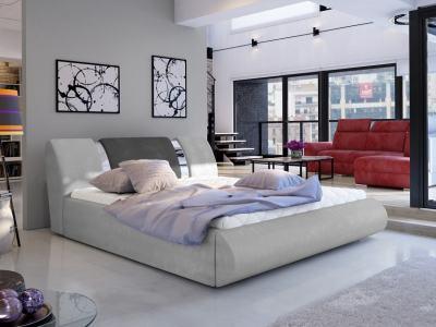 Современная двуспальная кровать с подъёмной реечной базой 140 x 200 - Charlotte. Светло- и тёмно-серая ткани