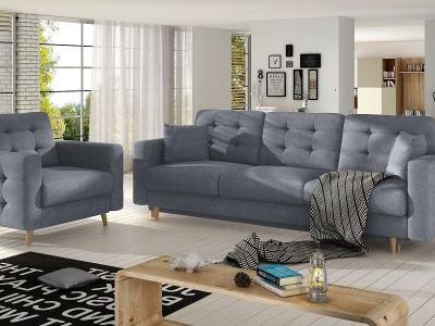 Conjunto 3+1 sofá cama más sillón tapizado capitoné – Copenhagen. Tela gris claro Soro 93