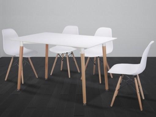 Conjunto comedor de mesa rectangular y 4 sillas en color blanco - Bergen