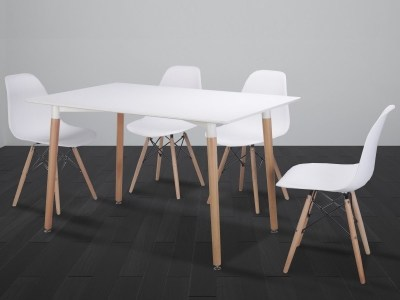 White Dining Set - Rectangular Table 130 x 80 cm and 4 Chairs - Bergen