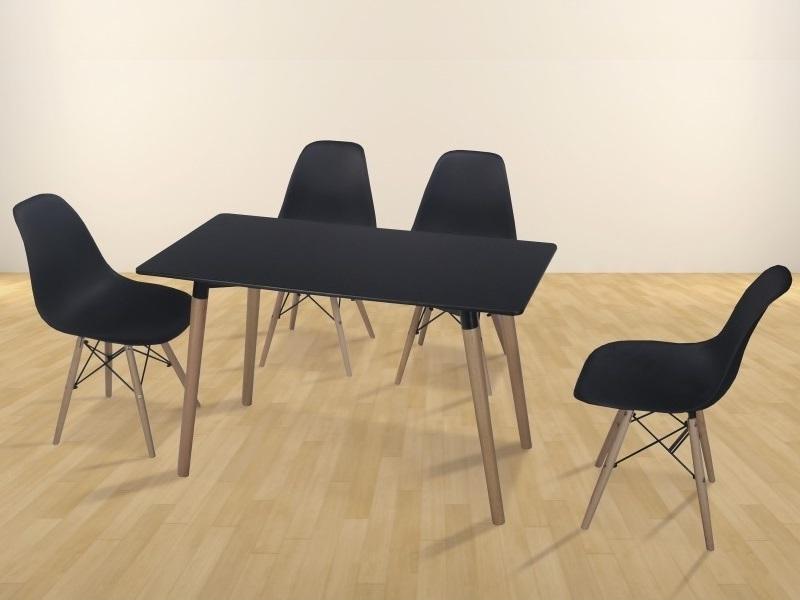 Conjunto comedor de mesa rectangular 130 x 80 cm y 4 sillas - Bergen ...
