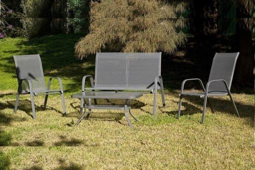 Conjunto de jardín - sofá 2 plazas, 2 sillones y mesa de centro, color gris - Dominica