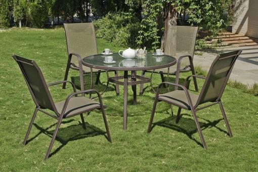 Juego de jardín - mesa redonda grade 105 cm y 4 sillones de acero Caribe