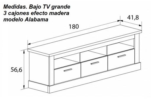Размеры большой тумбы для ТВ с 3 ящиками, отделка под дерево - Alabama