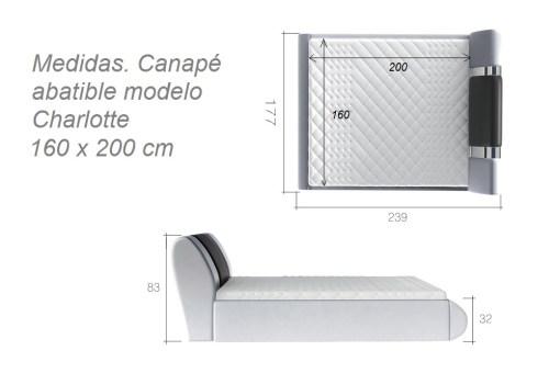 Medidas del canapé abatible moderno 160 x 200 cm - modelo Charlotte