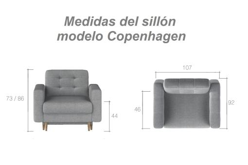 Medidas del sillón modelo Copenhagen