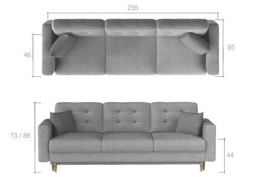 Medidas del sofá cama 3 plazas modelo Copenhagen