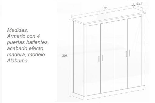 Medidas. Armario con 4 puertas batientes, acabado efecto madera - Alabama