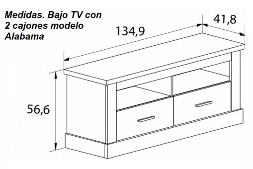 Dimensions of TV Stand with Two Drawers and Two Shelves - Alabama