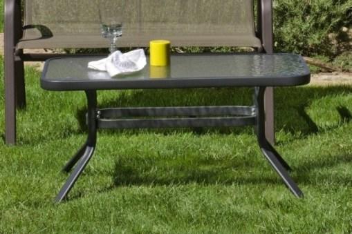 Mesa baja de jardín 90 x 55 cm fabricada en acero color bronce - Caribe