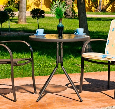 Round Patio Table 70 cm - Steel with Toughened Glass - Caribe