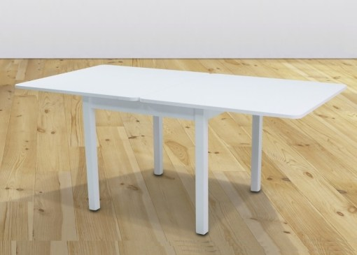 Table Extended to 180 cm. Dining Table 90 x 90 cm - Vejle. White Colour