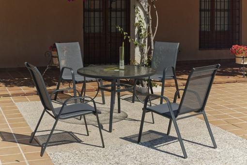 Set de jardín con mesa redonda 105 cm + 4 sillas, color gris - Dominica