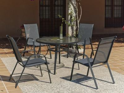Outdoor Dining Set with Round Table 105 cm + 4 Chairs, Grey Steel - Dominica