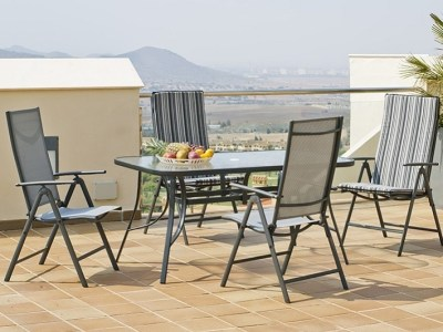 Outdoor Dining Set in Grey: Rectangular Table 150 x 90 cm + 4 Adjustable Chairs - Dominica