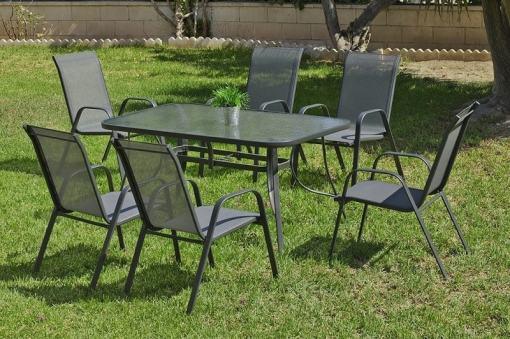 Set de jardín gris mesa rectangular 150 x 90 cm + 4 sillones de acero - Dominica