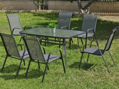 Patio Set: Rectangular Table 150 x 90 cm + 4 Chairs in Grey Steel - Dominica